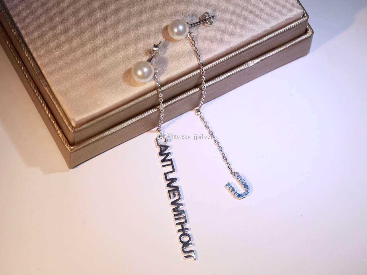 Корейский творческий письмо Циркон длинные мотаться серьги для женщин многослойные асимметричные серьги Brincos уха Жемчужина стерлингового серебра ювелирные изделия