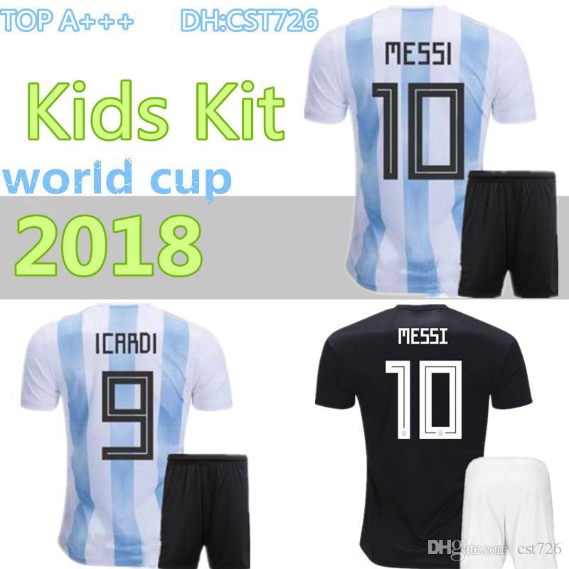 huge discount 51536 b8f48 2018 MESSI World Cup Argentina KIDS Kit AGUERO Soccer Jersey ICARDI DI  MARIA KOMPANY DYBALA Higuain Home jerseys uniforms football shirts