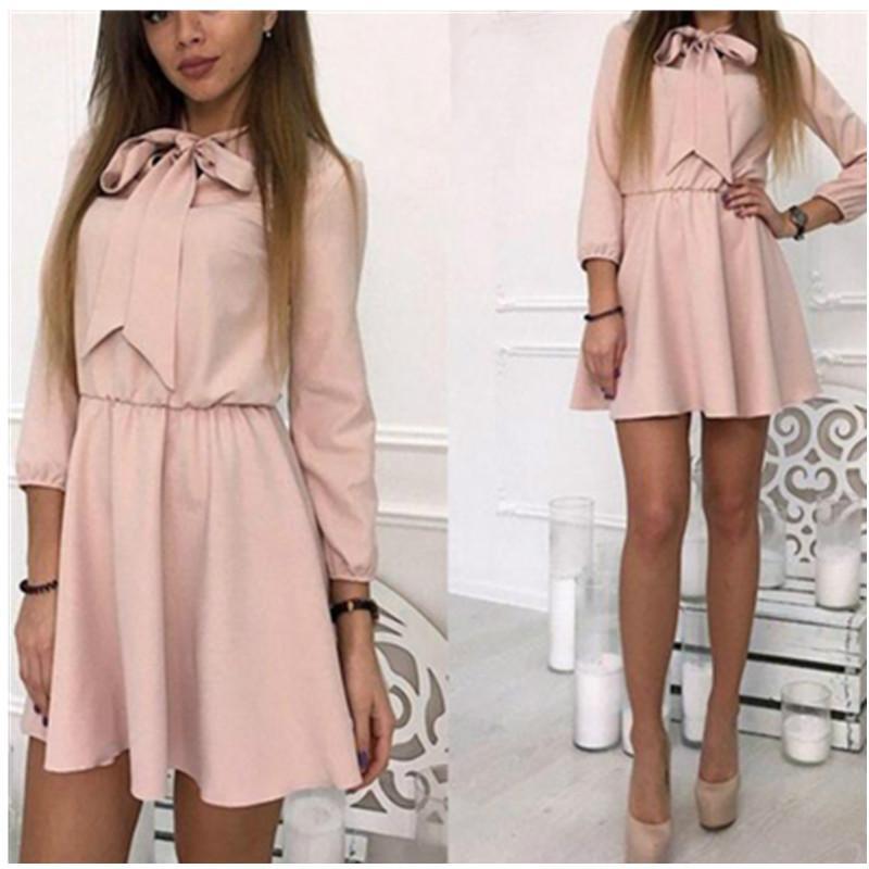 27e3f1e312c Bowknot Stand Collar Shirt Dress Women Kawaii Spring Summer A Line Female  Girls Lace Up Elegant Mini Dresses Plus Size GV789 Dress 1 White Dresses  For ...