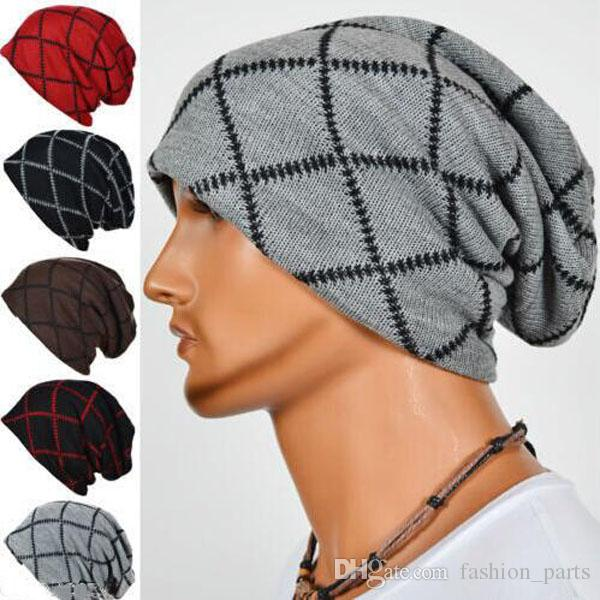 6414ad0530d 2018 Mens Designer Hats Bonnet Winter Beanie Knitted Hat Cap Skullies  Striped Diamond Cap Beanies For Men Beany Wholesale Hats From  Fashion parts