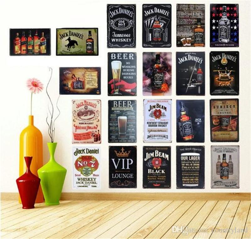 2018 Retro Vintage Wine Beer Whiskey Brands Tin Signs Wall Art ...