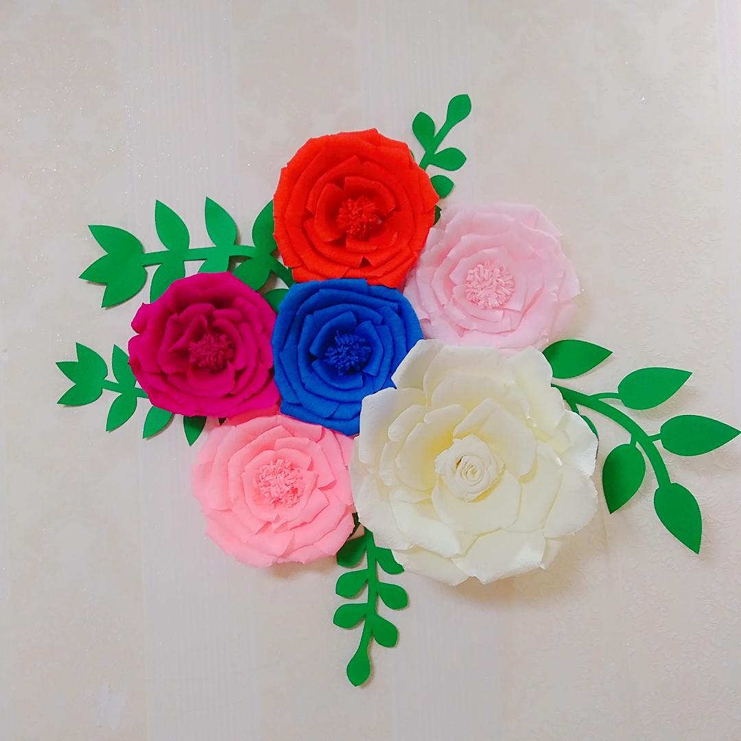b21dc9aa13 6 PCS Assorted Crepe Flor De Papel Conjunto Com 5 PCS Deixa a Galeria de  Decorações De Parede Do Berçário Do Bebê Decoração da Sala da menina ...