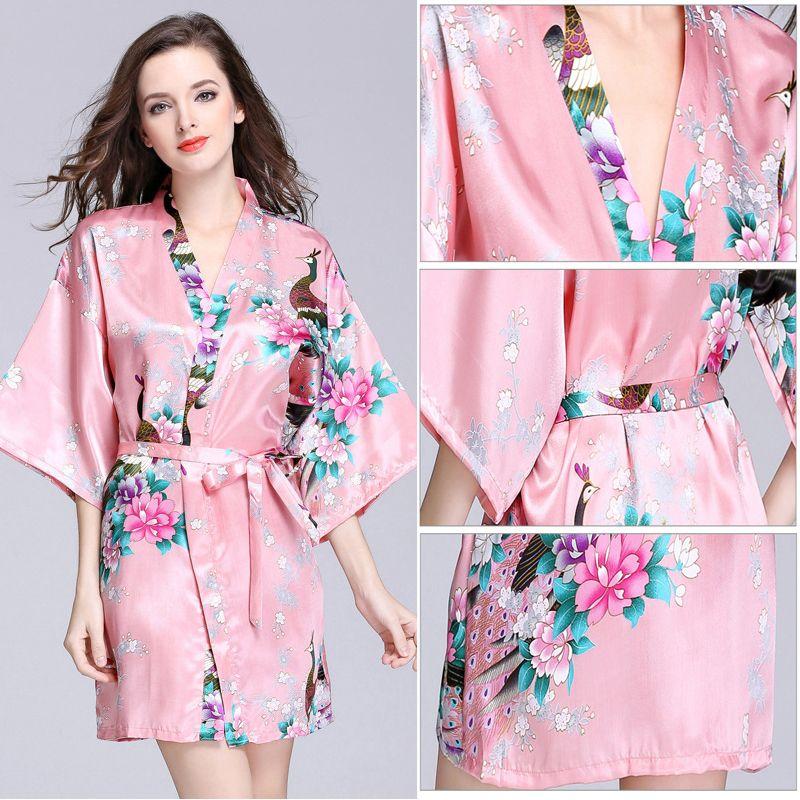 ed3897f33 Acheter Simulation Robes De Soie Femmes Manches D été Paon Pyjamas Peignoir  Grande Taille Service À Domicile Pyjamas Taille S Xxl De  15.08 Du Dises ...