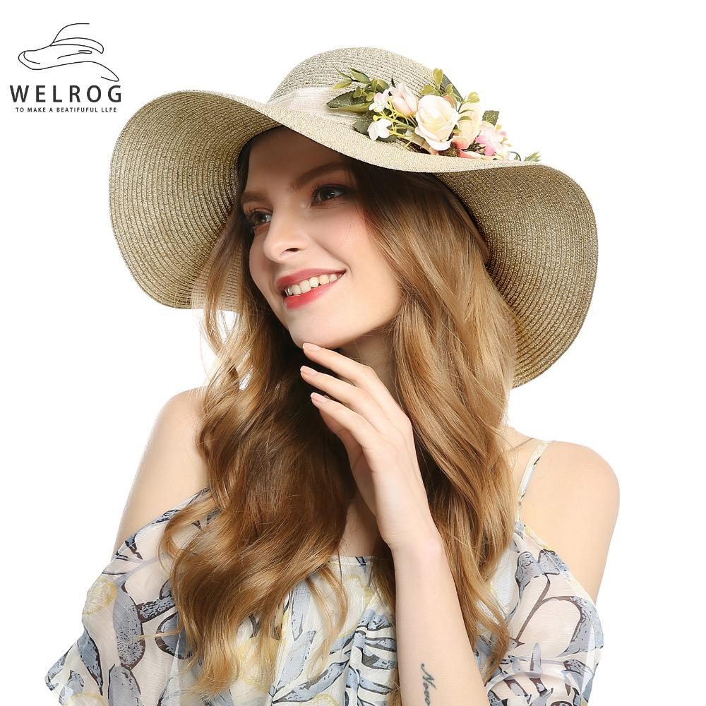WELROG Boho Style Casual Flower Sun Hats For Women Summer Beach Hats New  Wide Brim Straw Summer Casual Shade Foldable Caps Kids Hats Wide Brim Hat  From ... 61eb942aed2