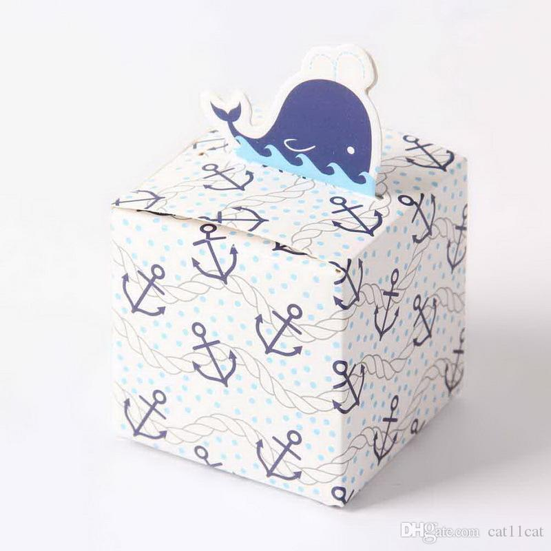 Free Shippping 50pcs Cute Blue dolphin candy box favour box paper bag favor box 4 girls boys birthday baby show gift