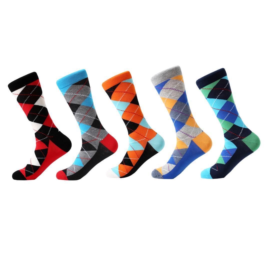 a2ad16bd5ac3 LETSBUY Men s Socks Cotton Diamond Geometric Pattern Colorful Funny ...