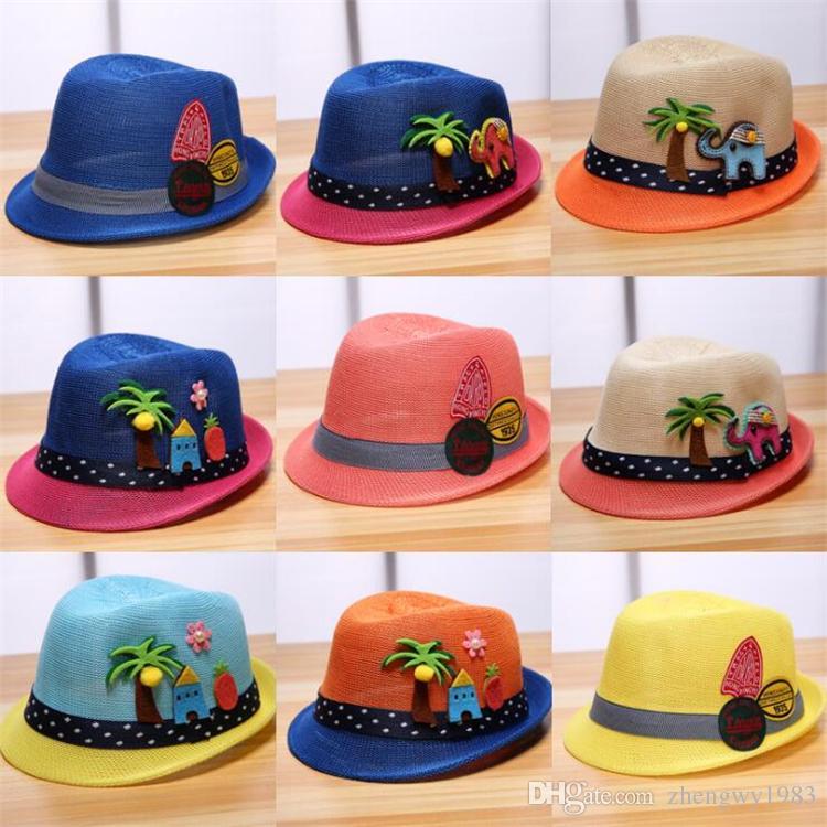 165c4ca3d0cce Compre Sombrero Del Bebé Del Verano es Moda Niños Gorra Para Niñas Niños  Niños Sombrero Del Sol Niños Bebés Gorra De Playa Paja Niños Jazz Sombrero  LA782 A ...