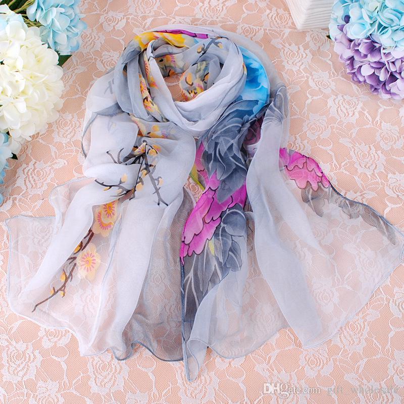 2017 Vente Chaude Top Qualité Classique Européen Designer Femmes Vie Fleur Imprimer Georgette Écharpe Élégant Dames Wrap