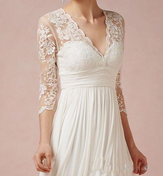 Lace Knee Length Beach Wedding Dresses V-Neck 3/4 Sleeve Ruffles Empire Chiffon Summer Short Bridal Gowns 2019 Cheap Bohemia Wedding Gowns