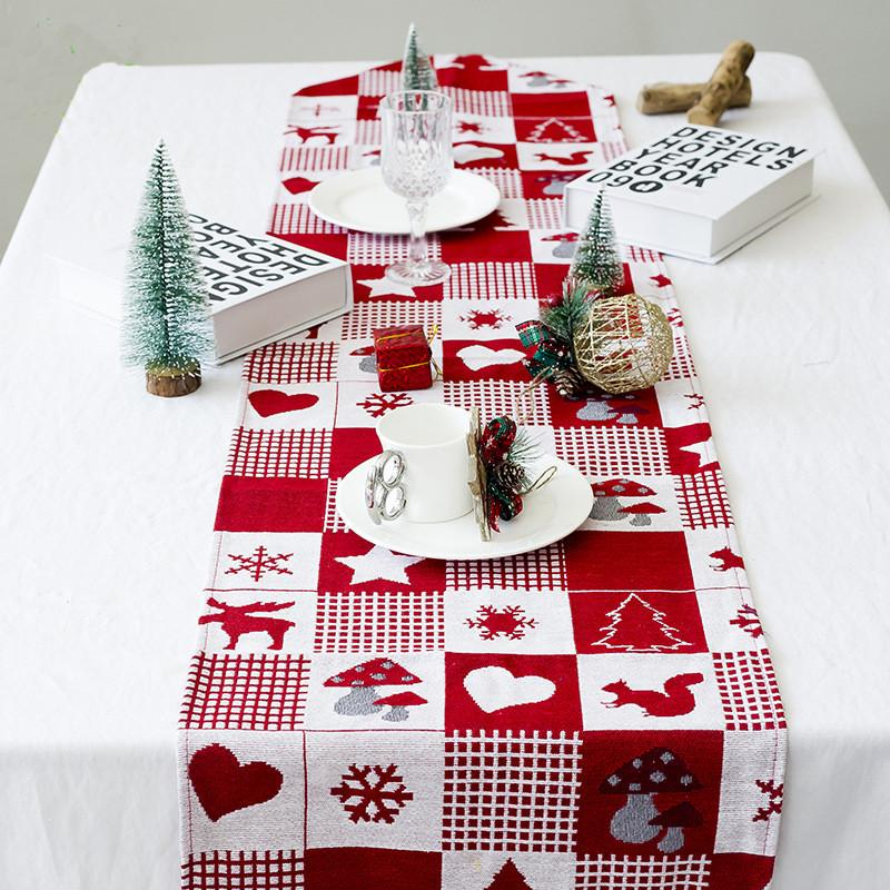 2019 Merry Christmas Table Decorations Elk Printed Tablecloth Red