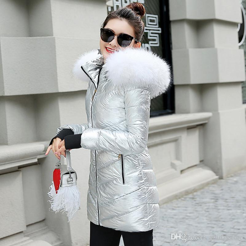 e90d77a65 big Fur collar winter jacket women coats hooded padded parka ladies  oversize warm coat womens silver down jacket plus size