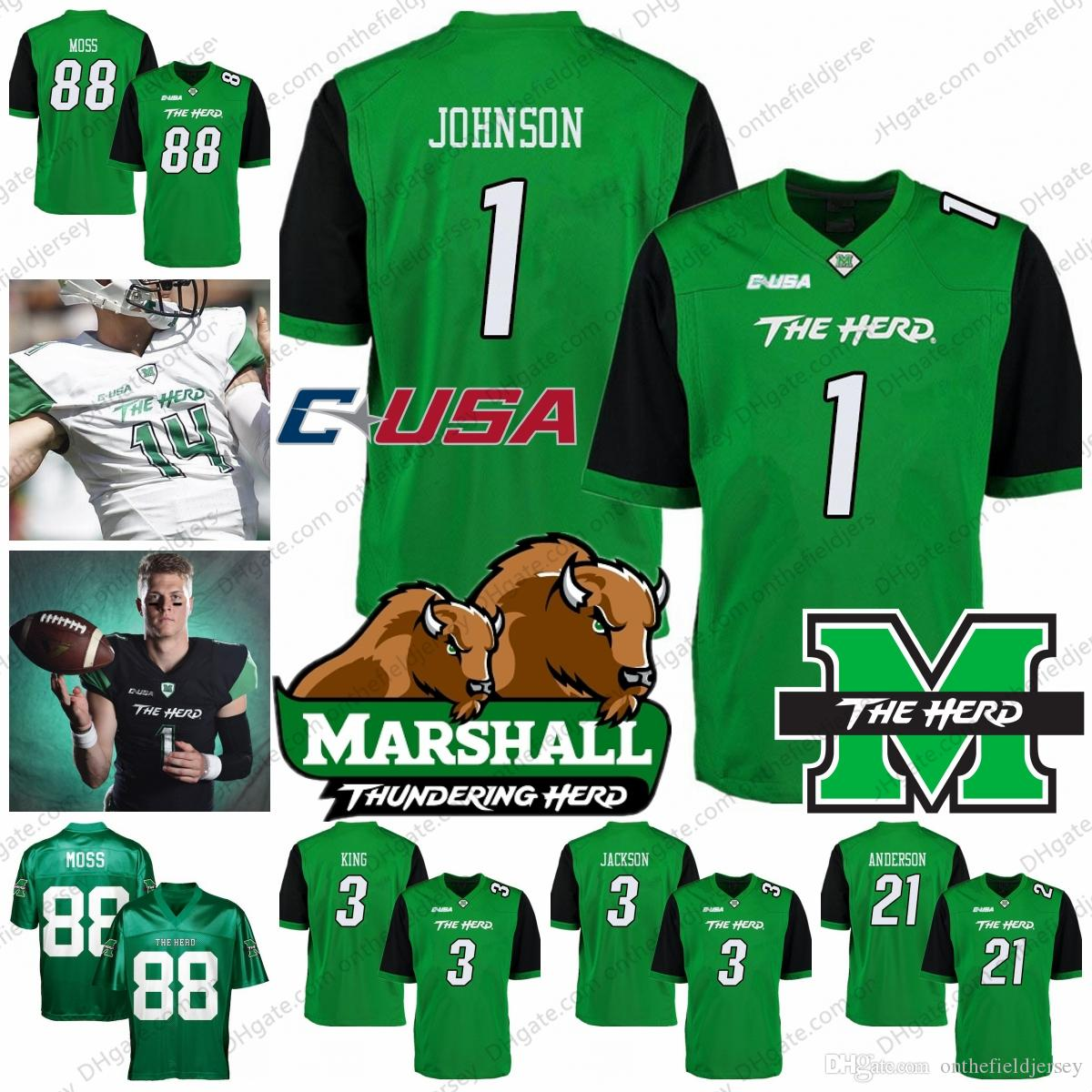 8fd24a50d 2019 Marshall Thundering Herd NCAA College Football Jersey  1 Willie  Johnson 3 Chris Jackson 3 Tyler King 21 Anthony Anderson 88 Randy Moss S  4XL From ...