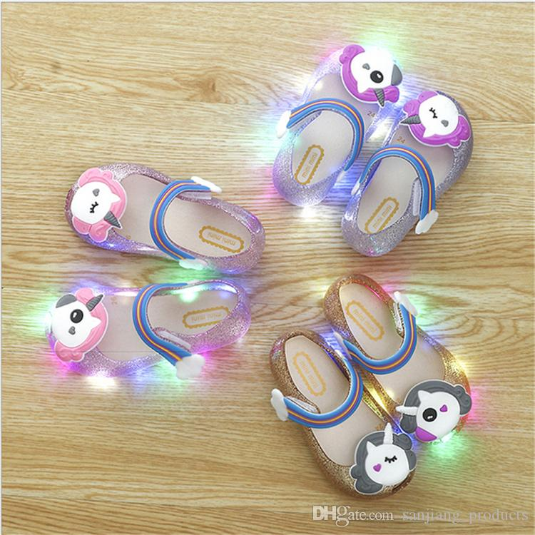 ab396bee0 Led Unicorn Shoes Kids Jelly Sandals LED Light Up Glitter Shoes Little  Girls Unicorn Party Unicorn Dress Sandal Slippers Hot Party Dress Themes  Funny ...