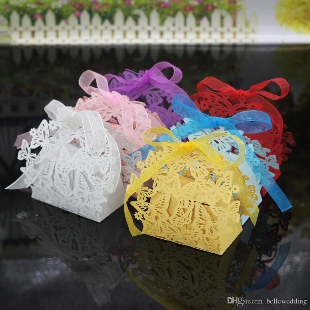 Wedding Favor Holders Chocolate Bags Laser Cut Paper With Ribbons