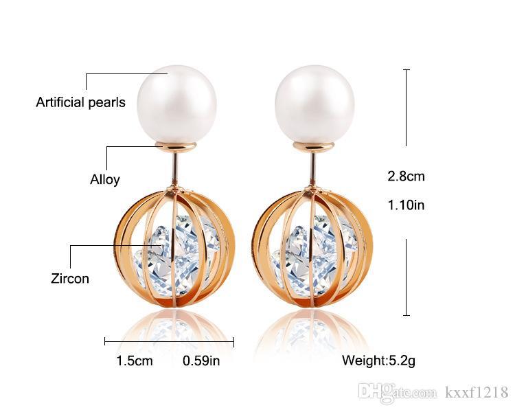 Moda de comercio exterior de doble cara tamaño perla pendientes de circón de cristal bola redonda de alto grado pendientes de caramelo temperamento joyería femenina