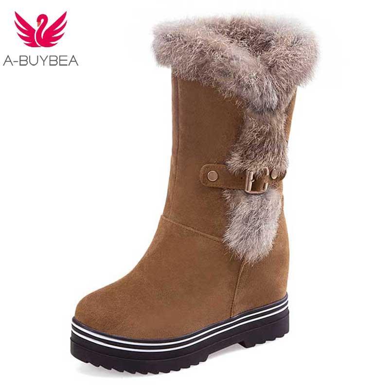 7d6700224 Compre Las Señoras De Las Mujeres De La Plataforma Ocasional De Los Tacones  Altos De La PU De Cuero Esmerilado Rodilla Botas Para La Nieve Zapatos De  Piel ...