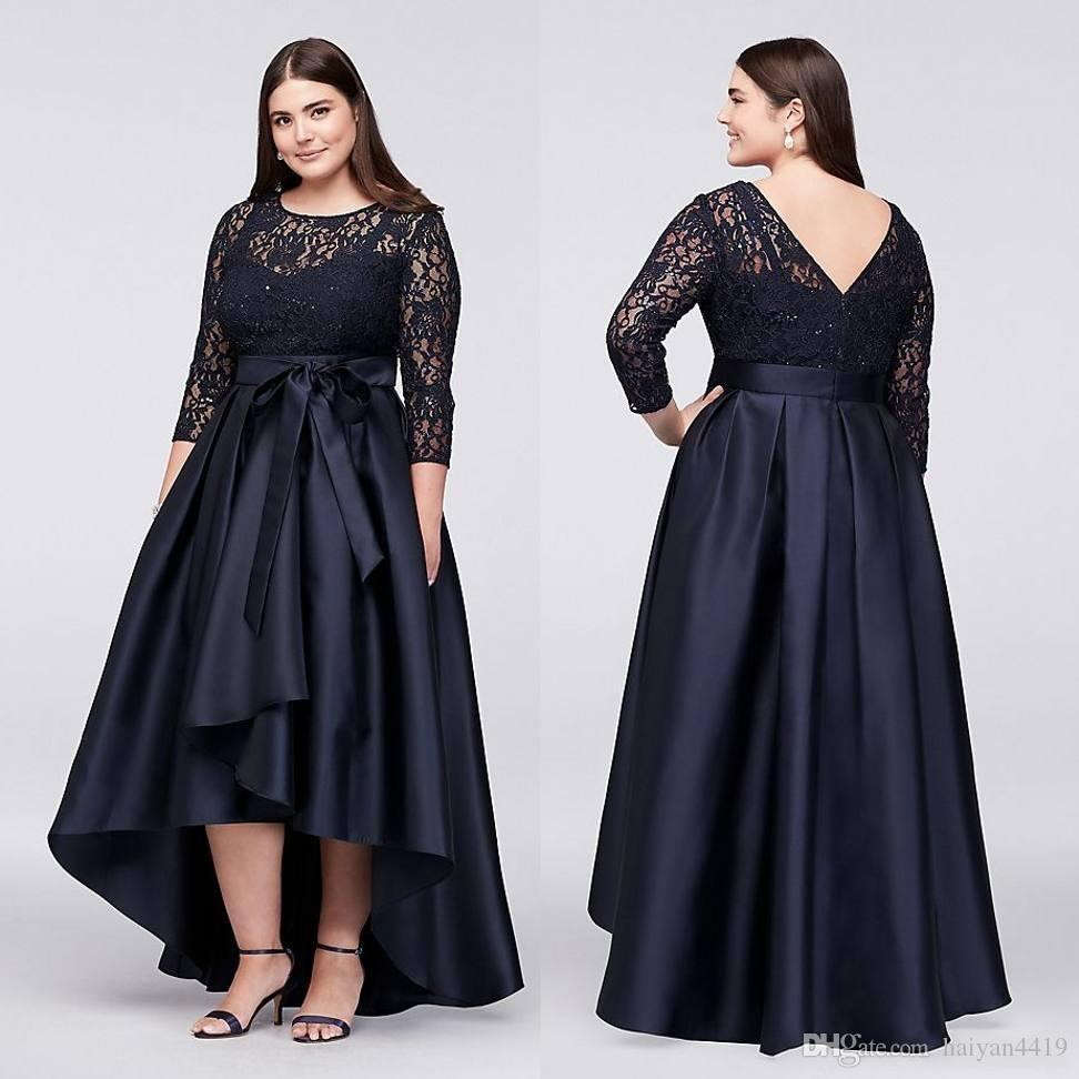 0234bfee4649 2018 Black Mother Of Bride Dresses Jewel Lace Appliques Sequins Plus Size  Long Sleeves V Back High Low Sash Wedding Guest Gowns Evening Mother Groom  Dress ...