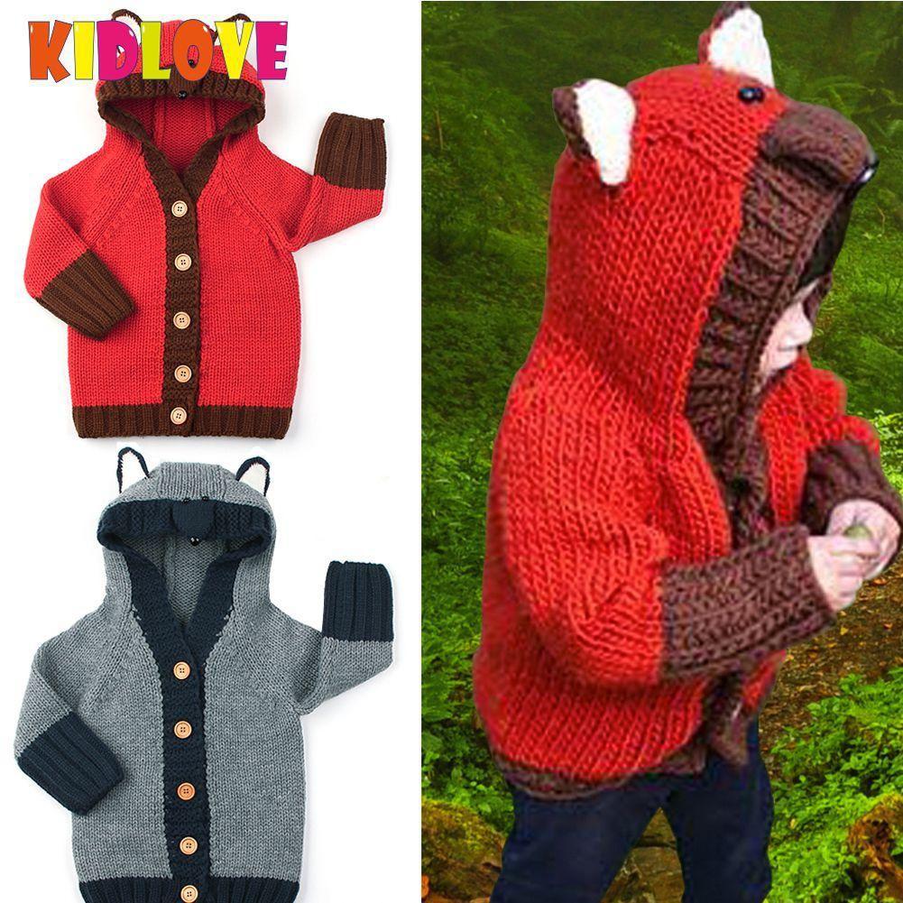 103ec3946401 Kidlove Baby Girl Boy Hooded Sweaters Warm Unisex Long Sleeve fashion  Sweaters Cute Fox Shape Hat Knitted Girl Boy Sweater SAN0