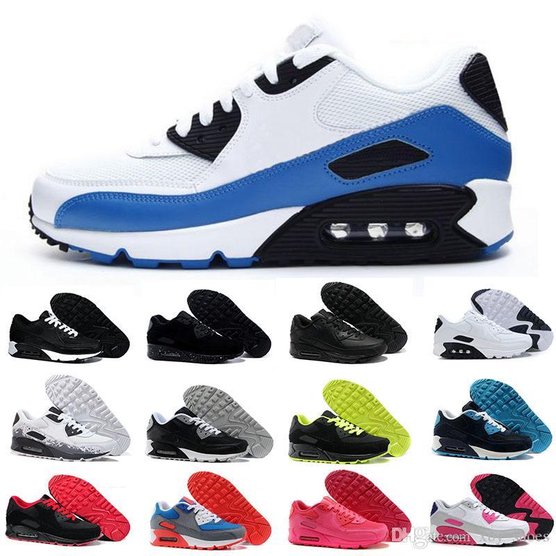 finest selection 41c01 2311d Acheter Nike Air Max 90 Airmax 90 Running Shoes Mens Sneakers Chaussures  Classique Hommes Occasionnels Chaussures Noir Rouge Blanc Sport Formateur  Coussin ...