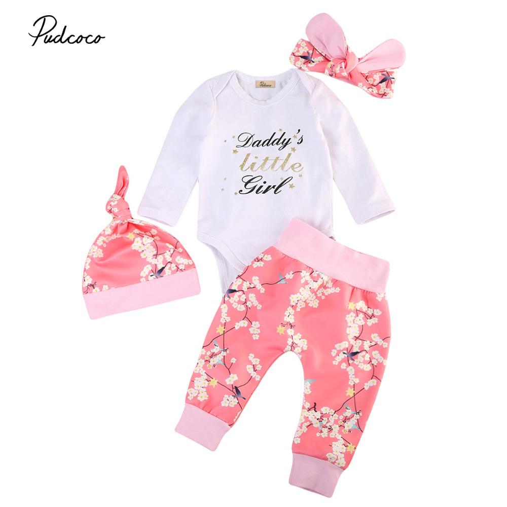 da7a9f9ccce27 2019 Cute Toddler Infant Baby Girls Winter Clothing Floral Outfits Set  Letter Print Romper Cotton Leggings Pants Handband From Xunqian, $30.46 |  DHgate.Com