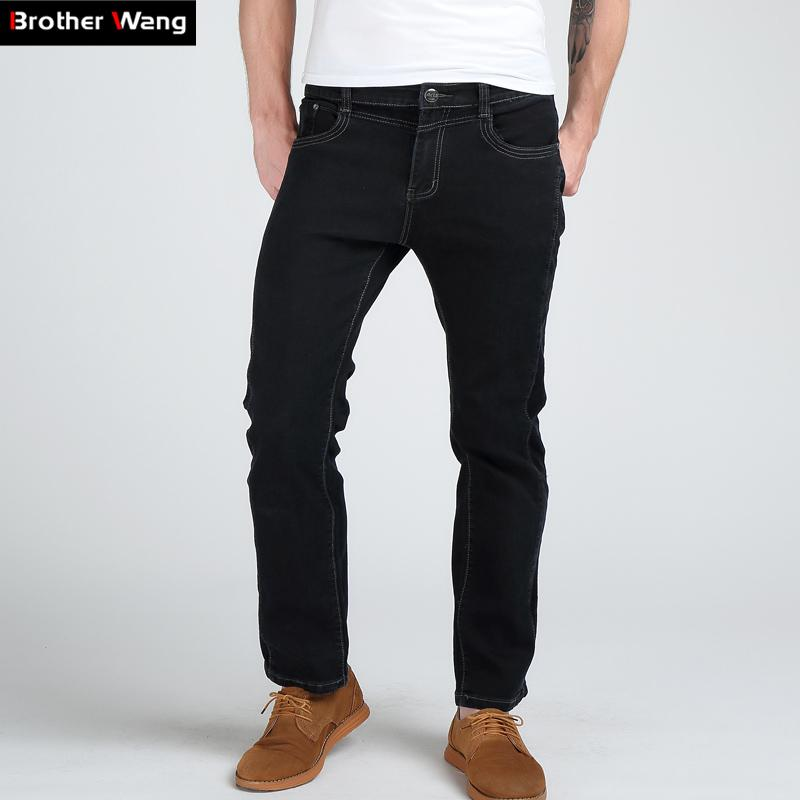 50467a6a684d 2019 Brother Wang New Men S Elastic Jeans Fashion Slim Corduroy Stitching  Casual Male Black Brand Jeans Large Size 38 40 From Bairi