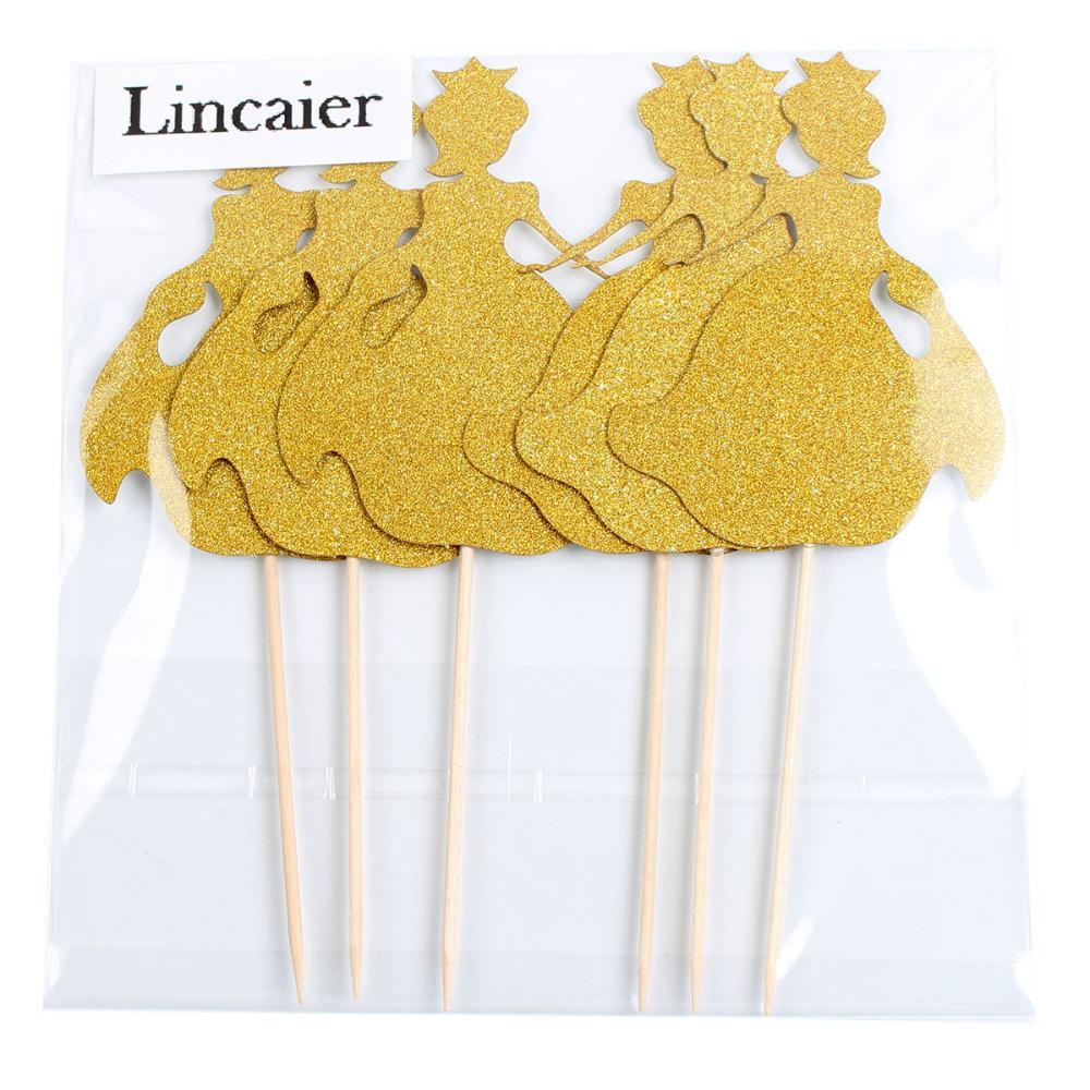 Lincaier 24 pezzi oro principessa Cupcake Toppers Baby Girl Birthday Party Decorations Bambini bambino torta forniture accessori congelati