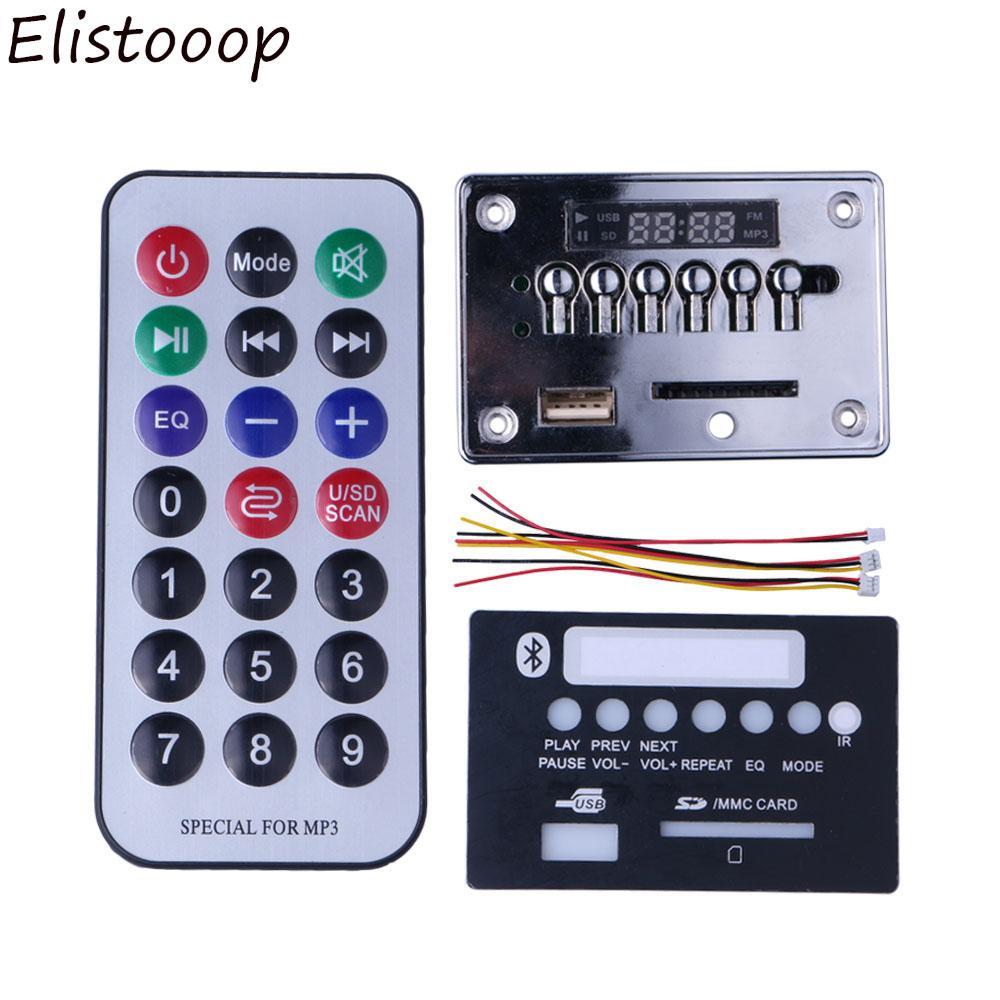 Elistooop Hands-free Bluetooth MP3 Decoder Board Module Car USB MP3 Player  Integrated Remote Control USB FM Aux Radio for Car