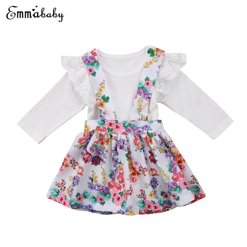 cad42aa4a7c 2019 2018 Summer Baby Outfits Girls Romper Lace Patch Top White T Shirt+Floral  Print Overall Skirt Strap Skirt Princess Clothes From Universecp