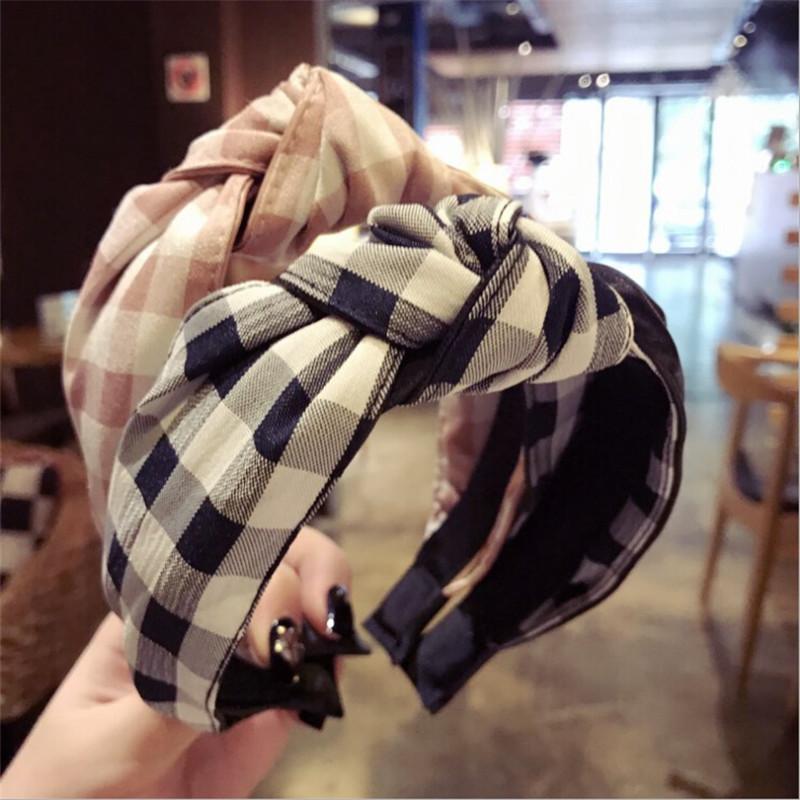 Großhandel Koreanische Boutique Haarband Leder Plaid Stoff Verknotet ...