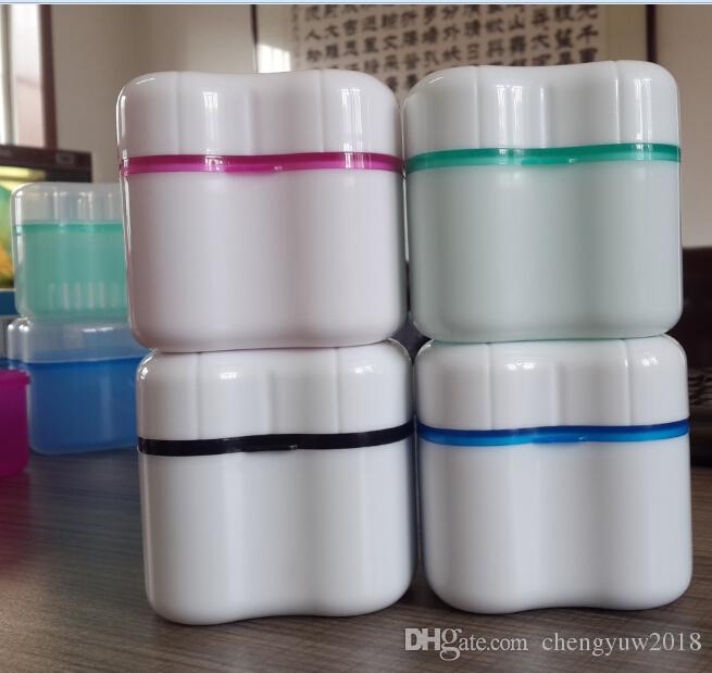 Protez Kutusu Tutucu Invisalign Banyo Sepeti Ile Diş Yanlış Diş Saklama Kutuları mavi / yeşil / pembe renkler