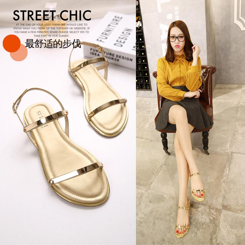 46c9ef2122c Summer New Women s Sandals Word Flat Sandals Comfortable Casual ...