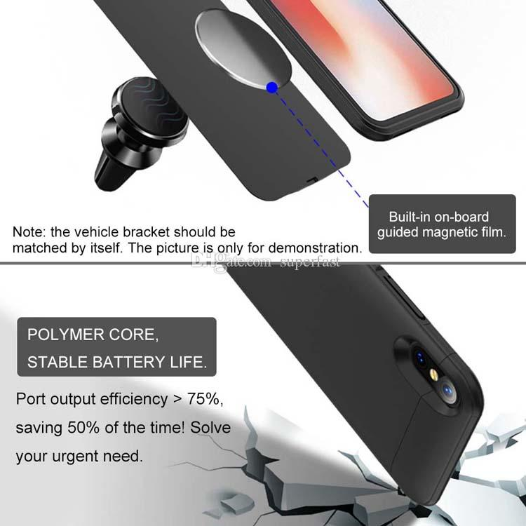 Battery Case For iPhone X 8 7 Ultra Slim Rechargeable Power Bank Case Built-in Magnet External Powerbank Battery Backup With Package