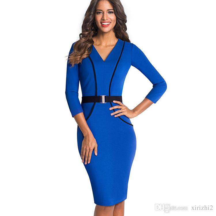 Acquista Vestito A Maniche Corte Da Donna Con Maniche Lunghe A Tre Quarti E  Maniche Lunghe Blu Le Signore Dell ufficio A  27.44 Dal Xirizhi2  a6ff1f4d9fb