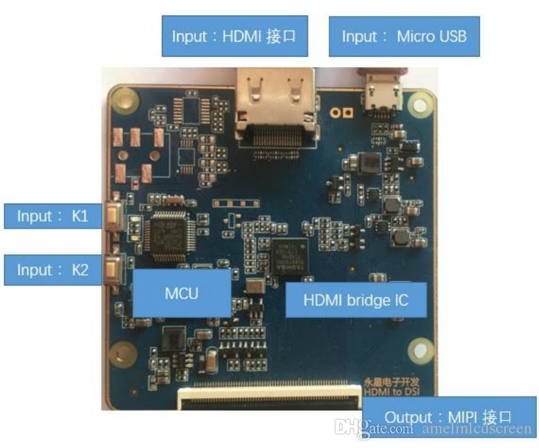 HDMI to MIPI interface driver board for 6 inch 720*1280 tft lcd screen from shenzhen amelin panel