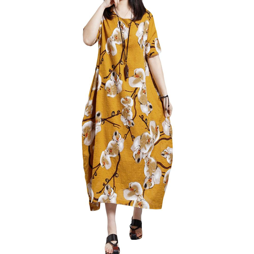 dea4cb4444f 4XL 5XL Plus Size Dress Women Casual Floral Print Loose Summer Dress ...