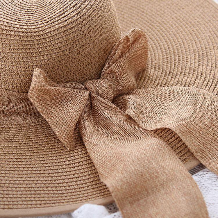 ca5e46bbc90 Hats For Women s Female Summer Ladies Wide Brim Beach Hats Sexy Chapeau  Large Floppy Sun Caps New Brand Spring Praia Ribbon Beach Hat Sun Cap Hats  for Women ...
