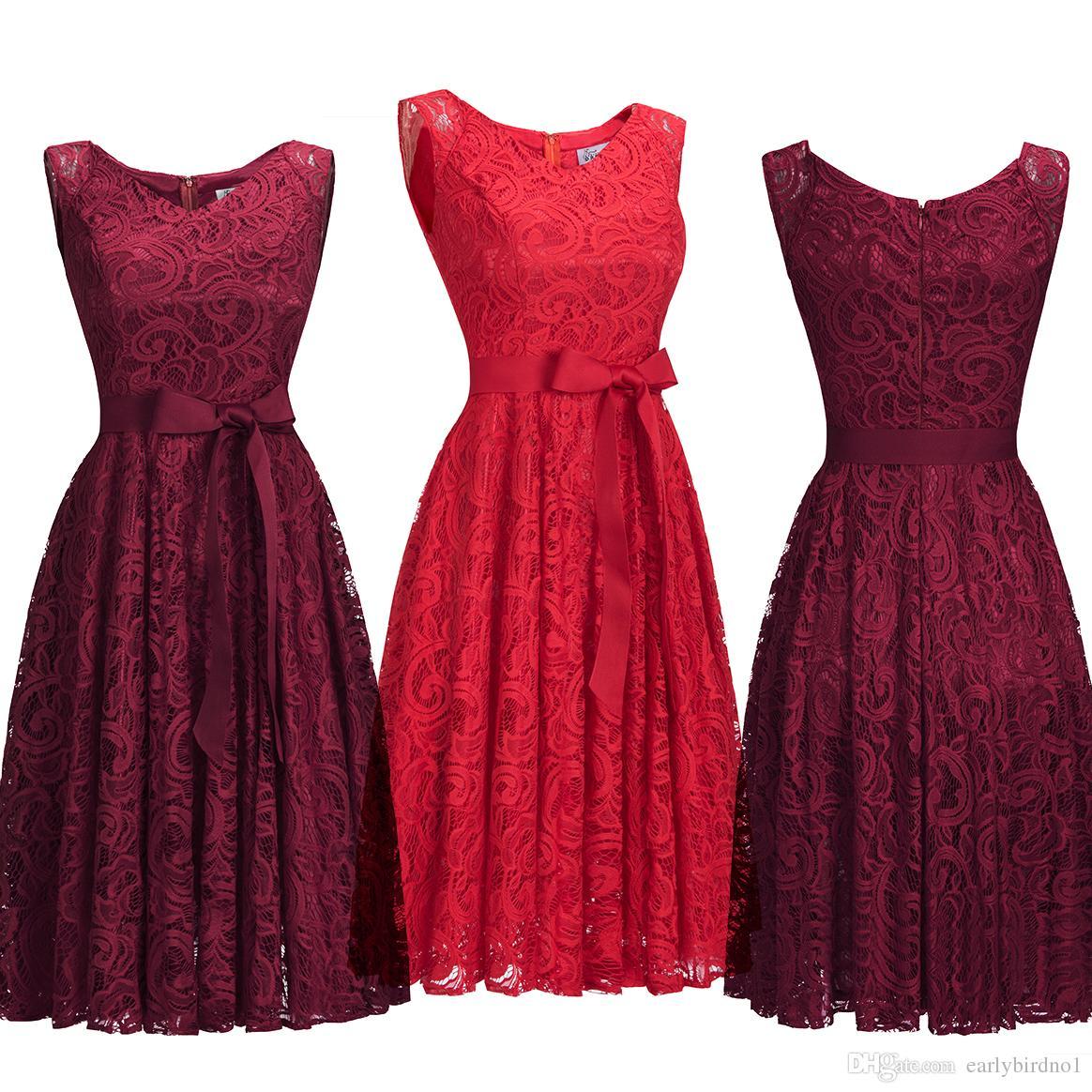 04b88321c58e8 2019 Designer Red Burgundy Lace Evening Dresses Knee Length V Neck Sash Cocktail  Party Dress Formal Occasion Wear CPS1147 Black Dress Long Buy Gowns Online  ...