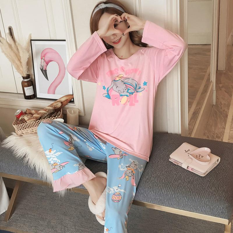 ba5f527b1e 2019 Cotton Comfortable Pajama Sets 2018 Autumn Winter Long Sleeve Women  Sweet Cartoon Printed Pink Sleepwear Homewear Girl Pyjamas D18110502 From  Shen8403