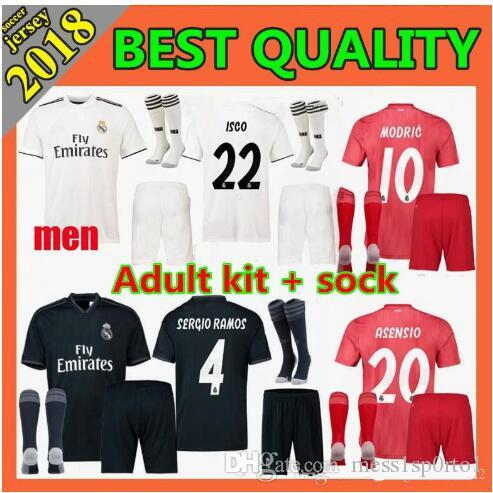 1f0e0e6a824 2019 New 2018 19 Real Madrid Soccer Jersey Kroos Sergio Ramos 18 19 REAL  MADRID Champions League PATCHES Football Shirt Uniform From Mess1sp0rto1