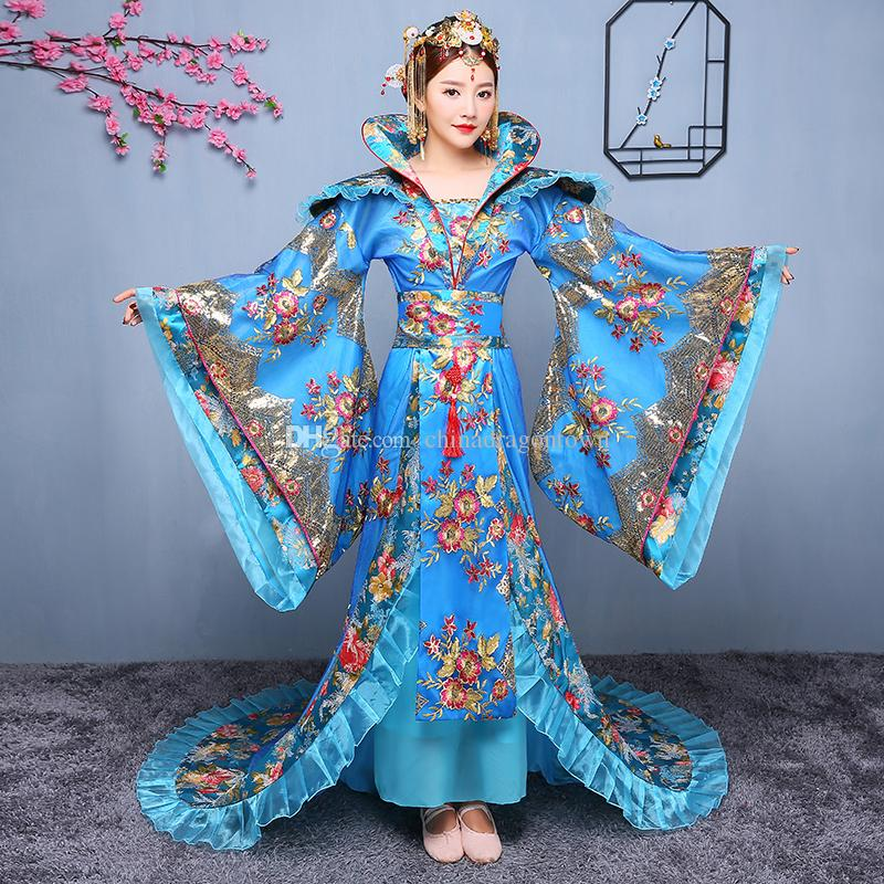 ddc1ee804a9ba Chinese fairy costume The tang dynasty ancient hanfu folk dance clothes  trailing royal luxury princess dress film TV performance stage wear