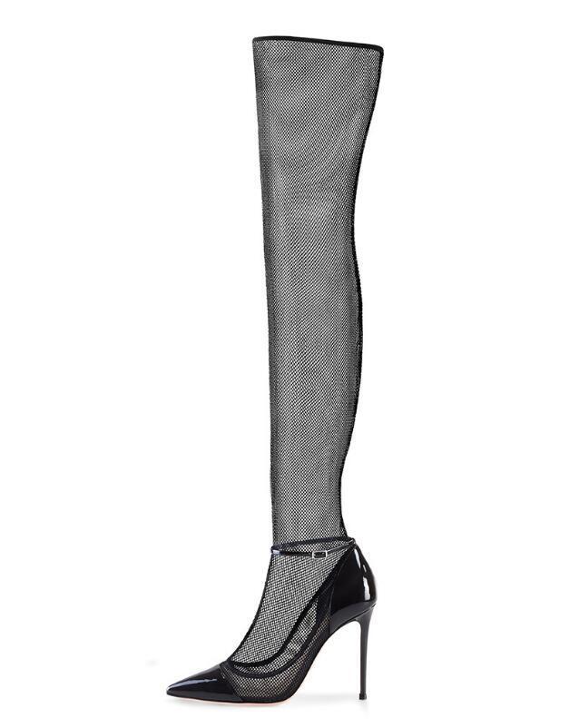 44698b3f076 Compre Sexy Lace Dedo Apontado Sapatos De Salto Alto Moda Over The Knee  Saltos Finos Mulheres Sapatos Fivela Tiras Sapatos De Festa Sandália  Tamanho Grande ...