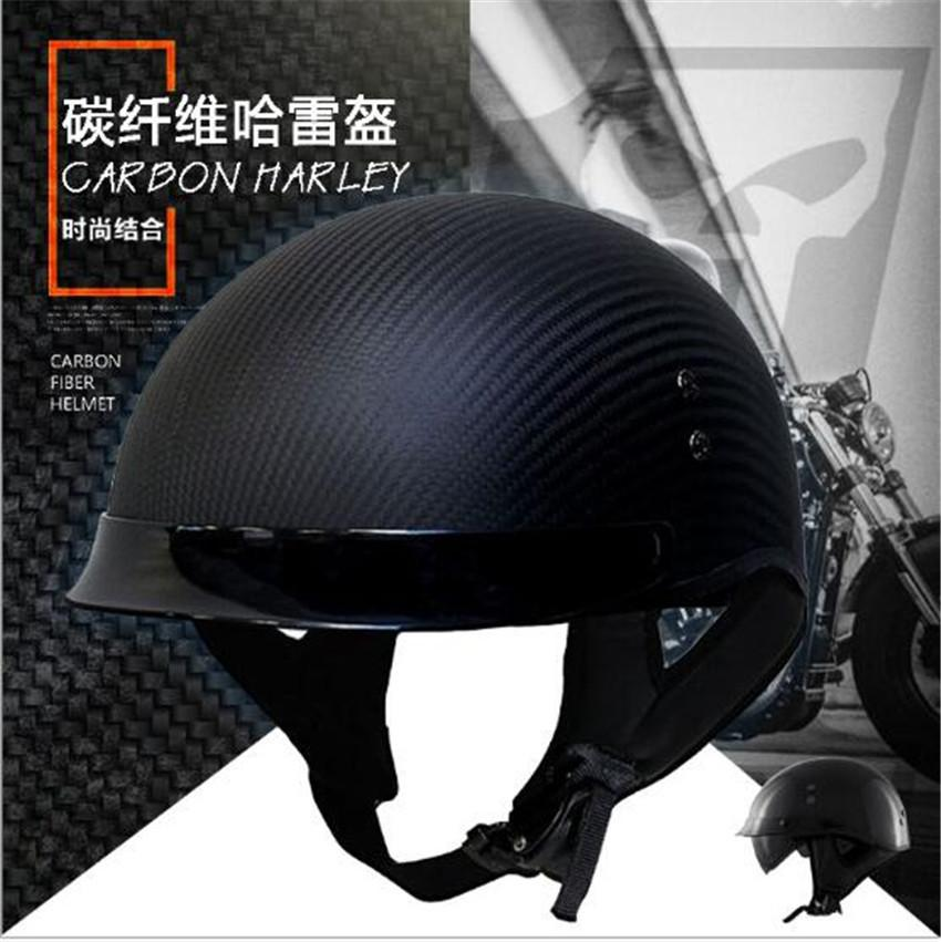 HOT SELL German Pure Carbon Fiber half face motorcycle helmet DOT approved light weight open face helmet with inner sungalsses