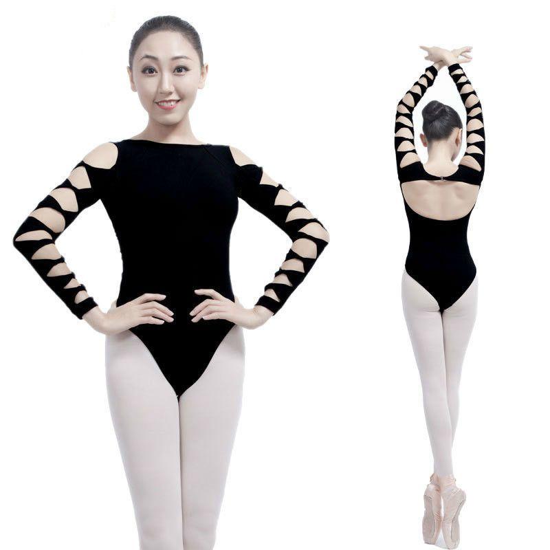 be2a285df 2018 Adult Gymnastics Leotard Black Mesh Dance Leotards Long Sleeve ...