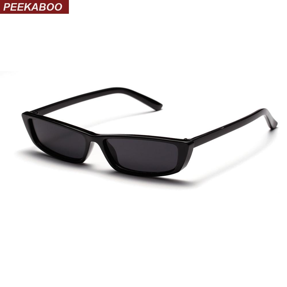d9b46f2eee503 Compre Peekaboo Retro Pequenos Óculos De Sol Retangular Mulheres Presente  Branco Vermelho Quadrado Preto Olho De Gato Óculos De Sol Feminino Masculino  Uv400 ...