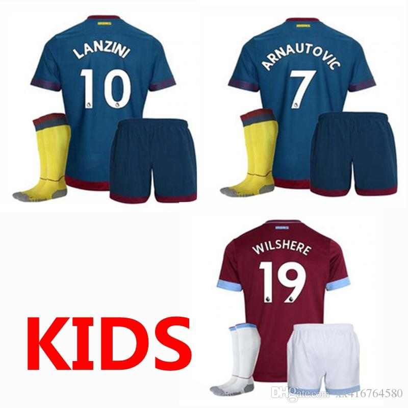 15ac7ceee 18 19 West Ham United Kids Soccer Jersey 2018 2019 NOBLE ARNAUTOVIC ...