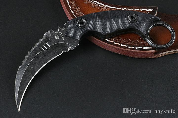 Top Quality Strider Karambit Coltello D2 Satin / Black Stone Wash Blade Black G10 Maniglia Knife Knife With Leather Sheath