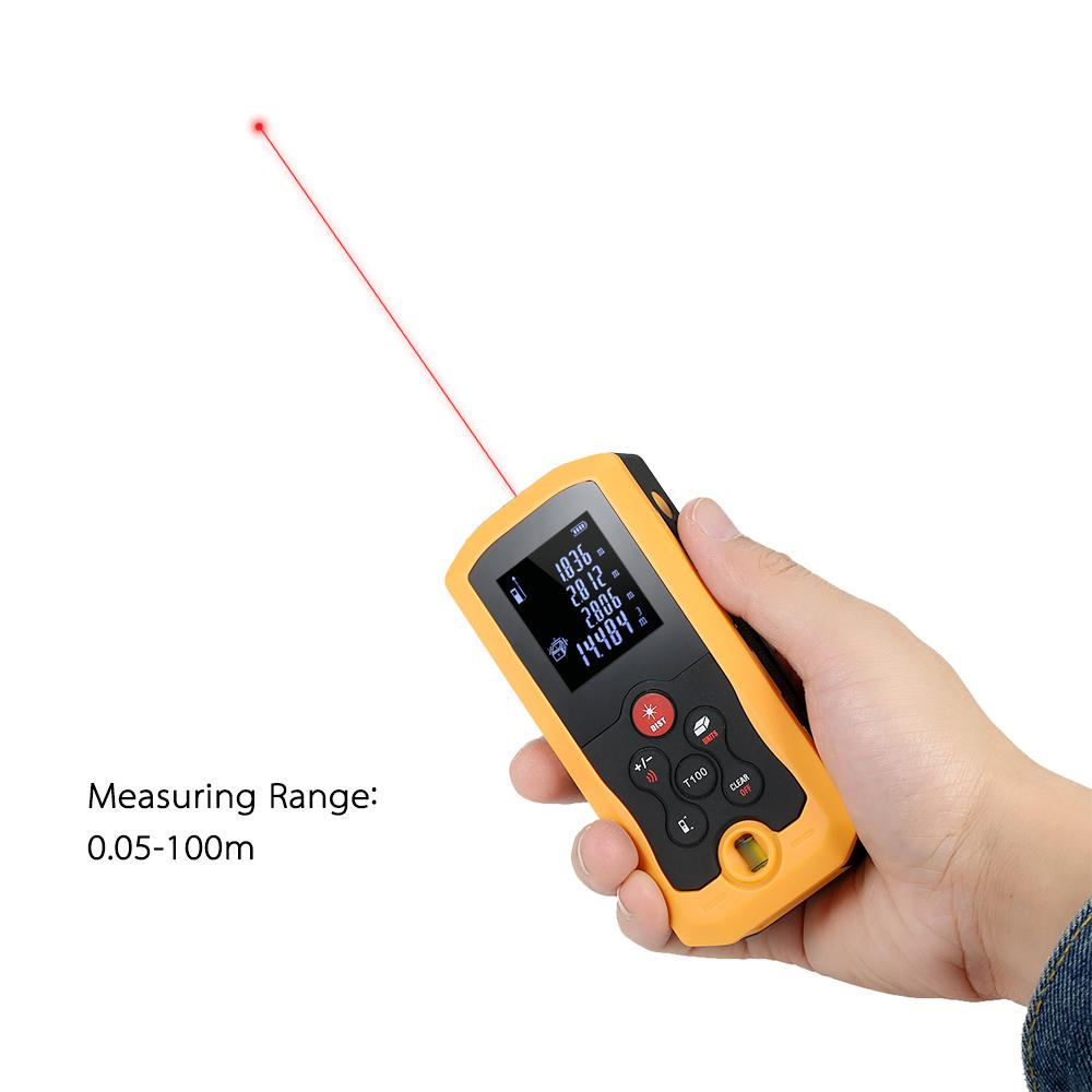 100m Hand-held laser rangefinder Mini construction tools Digital Laser Distance Meter laser tape measure 10 Groups Data Storage