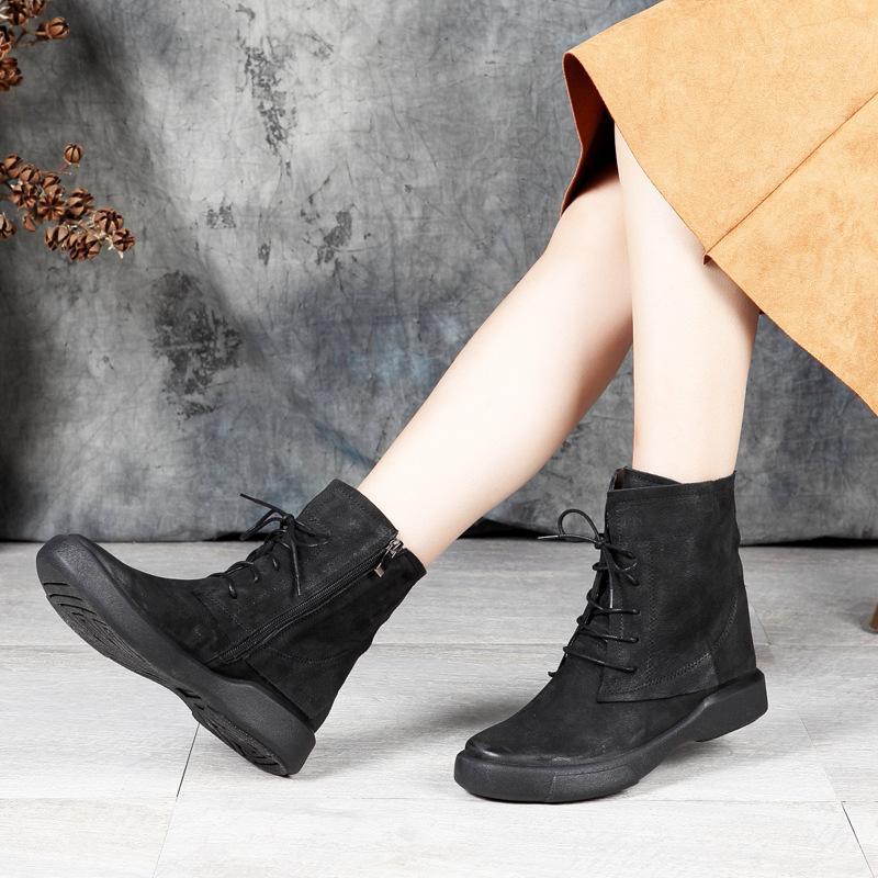 9ac3e45cec9 Lace Up Flat Ankle Boots Women Shoes New Design Female Short Shoes Genuine Leather  Lady Low Cut Zipper Booties Plus Size 41 Winter Boots For Women ...