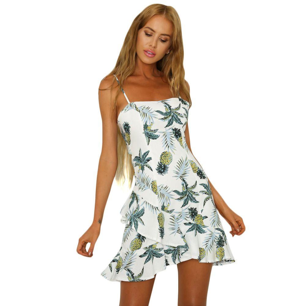 fdcdedbbe58 Women Mini Summer Dress 2018 Floral Pineapple Print Spaghetti Strap  Sleeveless Backless Asymmetric Ruffle Beach Holidaywear