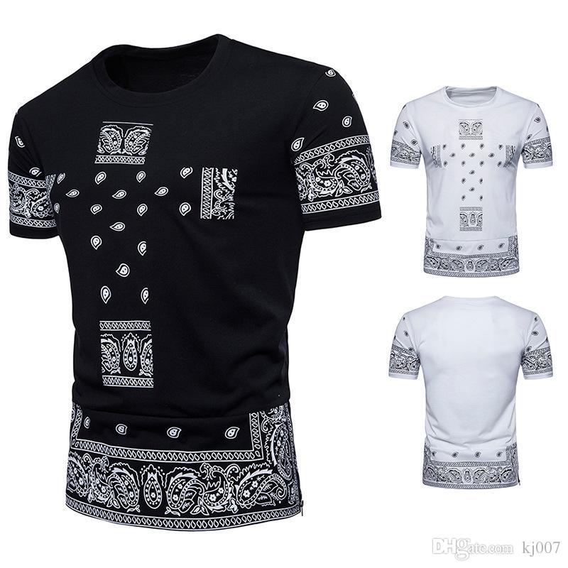 Men Slim Fit Suits Hip Hop Short Sleeve T Shirts New Brands Paisley Summer  Mens Shirt b5807034dbd